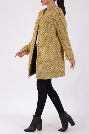 Italian Round Neck Woollen Coat: Yellow