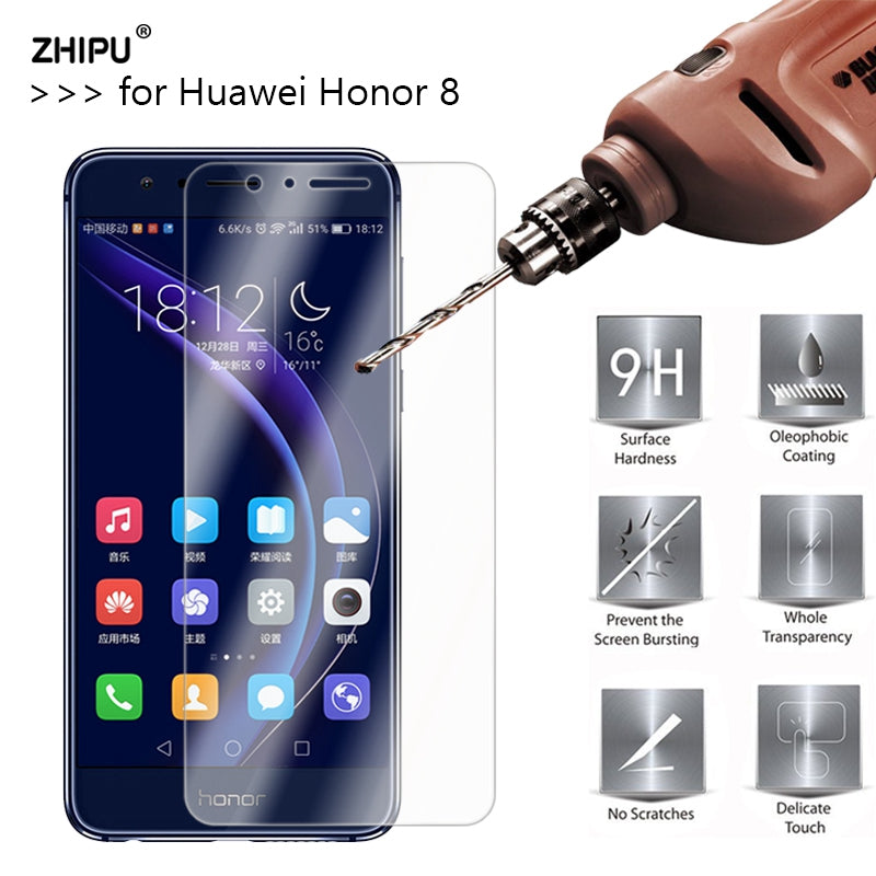 2.5D 0.26mm 9H Premium Tempered Glass For Huawei Honor 8 Screen Protector protective film For Huawei Honor 8 Glass