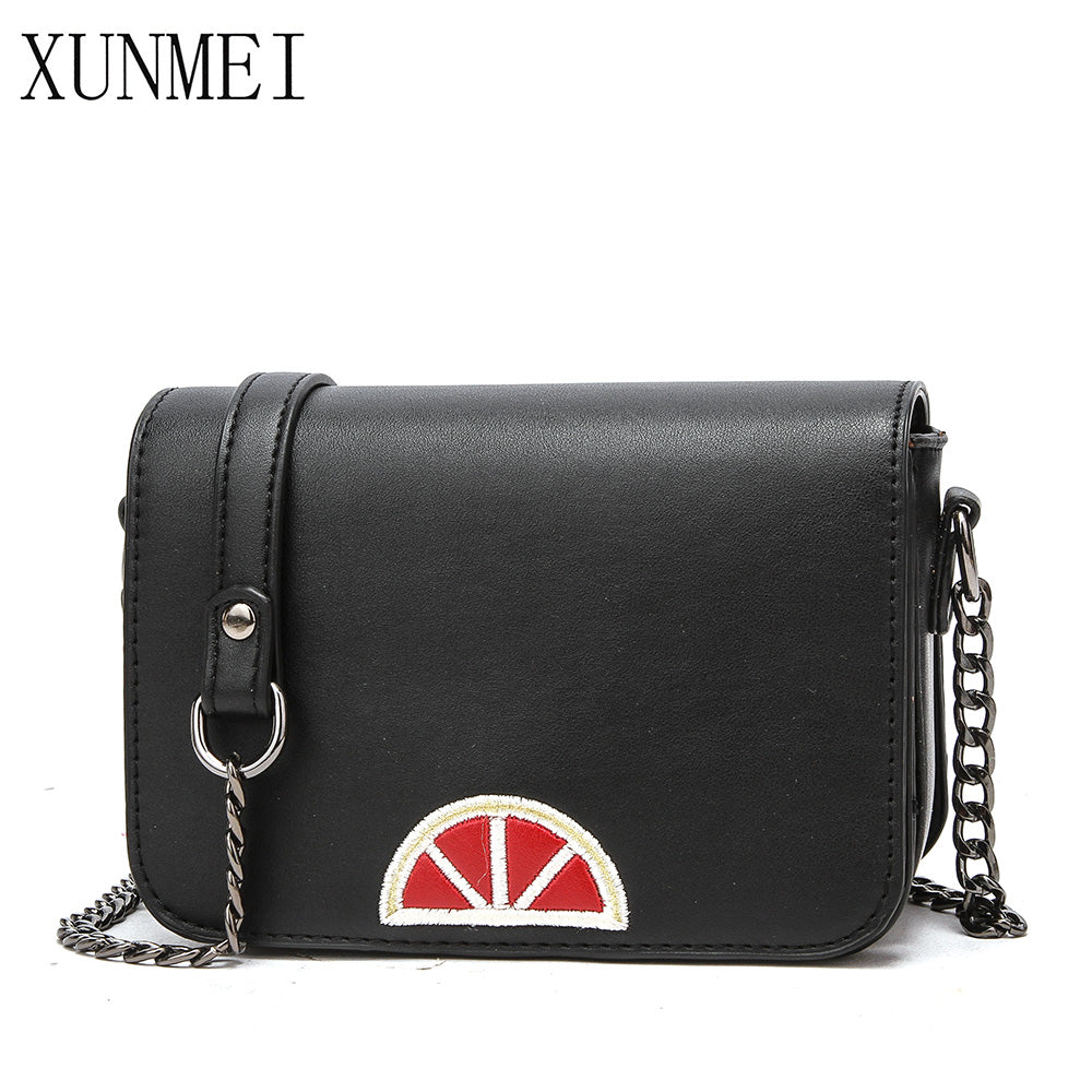 Fashion Women PU Leather Handbags Ladies Hand Bags Black Crossbody Bag Shoulder Bag With Metal Chain Strap