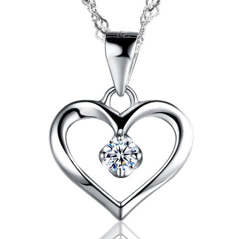 Image of Hollow Heart Pendant Necklace