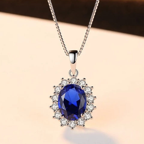 Elegant Oval Princess Sapphire Necklace