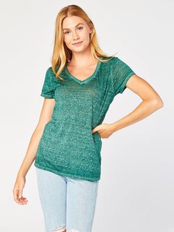 Vintage Wash V Neck Womens Tops Threads 4 Thought XS Hunting Green