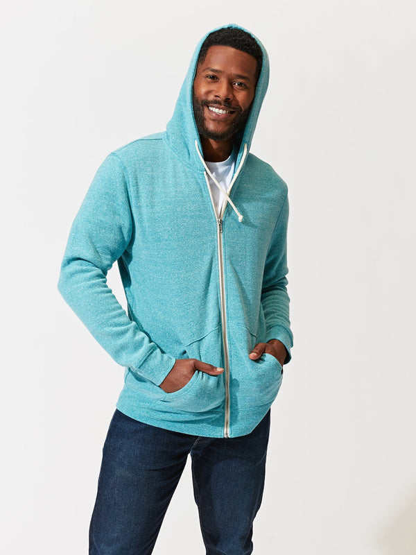Triblend Zip Fleece Hoodie Mens Outerwear Sweatshirt Threads 4 Thought