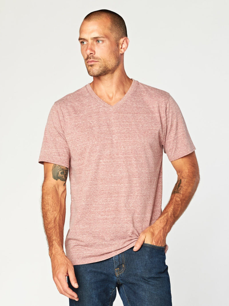 Triblend Short Sleeve V Neck Tee Mens Tops Threads 4 Thought S Brick Red