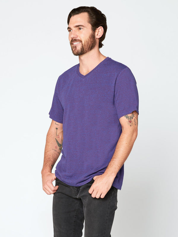 Triblend Short Sleeve V Neck Tee Mens Tops Threads 4 Thought S Multi Purple