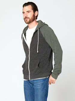 Malibu Zip Front Hoodie Mens Outerwear Sweatshirt Threads 4 Thought S Heather Black Dirty Evergreen