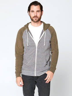 Malibu Zip Front Hoodie Mens Outerwear Sweatshirt Threads 4 Thought S HEATHER GREY / ARMY