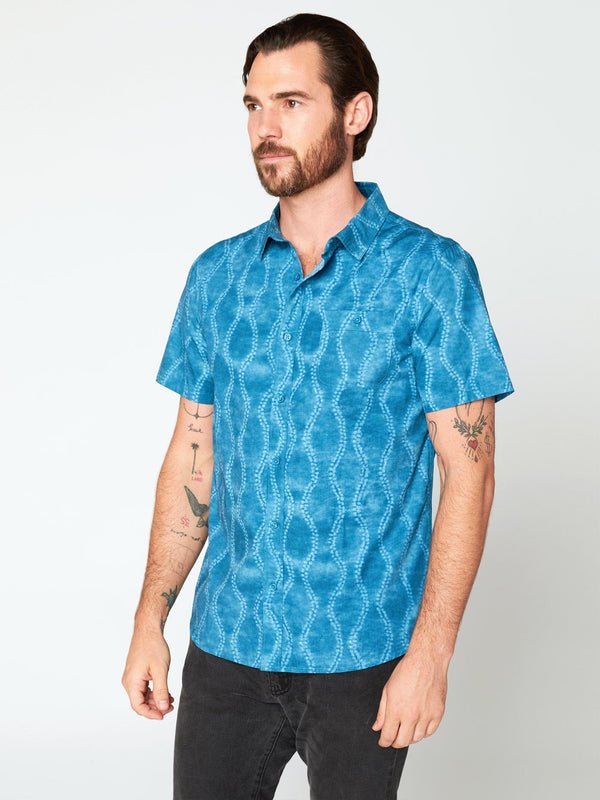 Standard Short Sleeve Shirt Mens Tops Threads 4 Thought S Aqua Batik