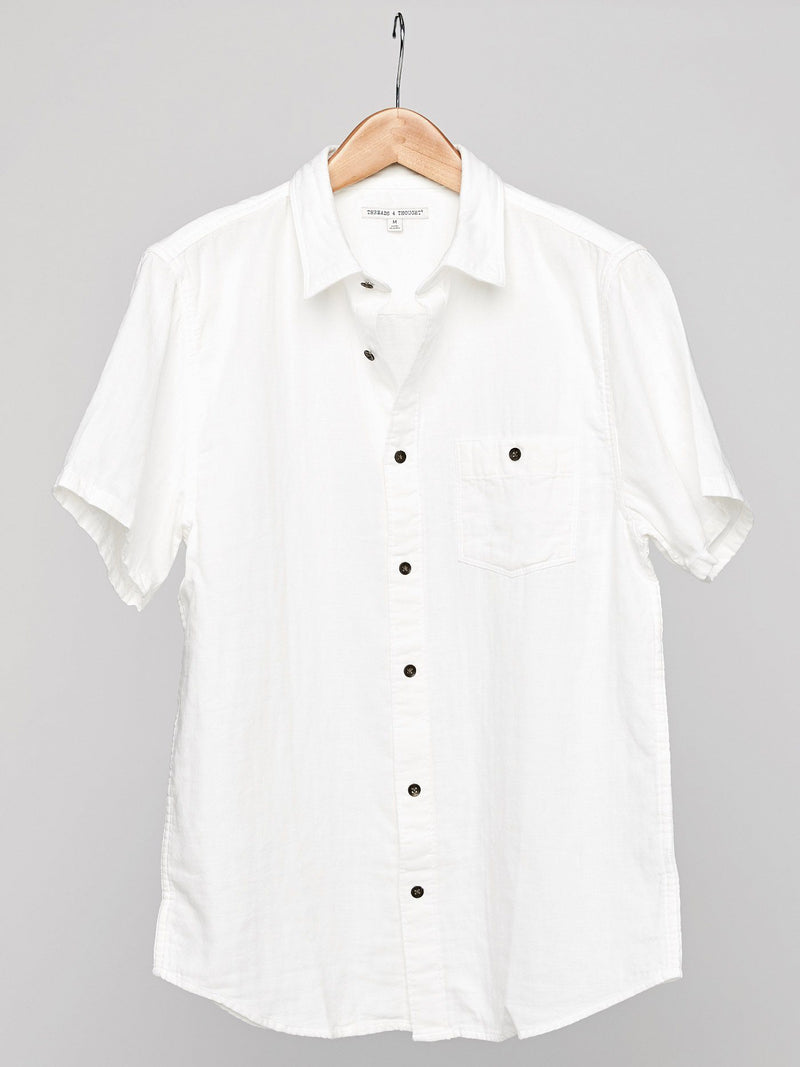 Standard Short Sleeve Gauze Shirt Mens Tops Shirt Threads 4 Thought S WHITE