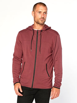 Chuck Feather Fleece Zip Hoodie Mens Outerwear Sweatshirt Threads 4 Thought S Maroon Rust