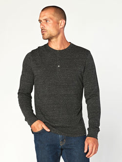 Triblend Henley Mens Tops Threads 4 Thought S Heather Black