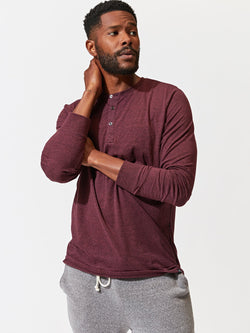 Triblend Long Sleeve Henley Mens Tops Threads 4 Thought