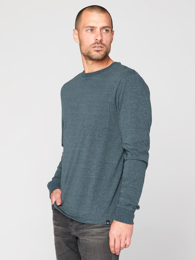 Long Sleeve Triblend Pocket Crew Tee Mens Tops Threads 4 Thought