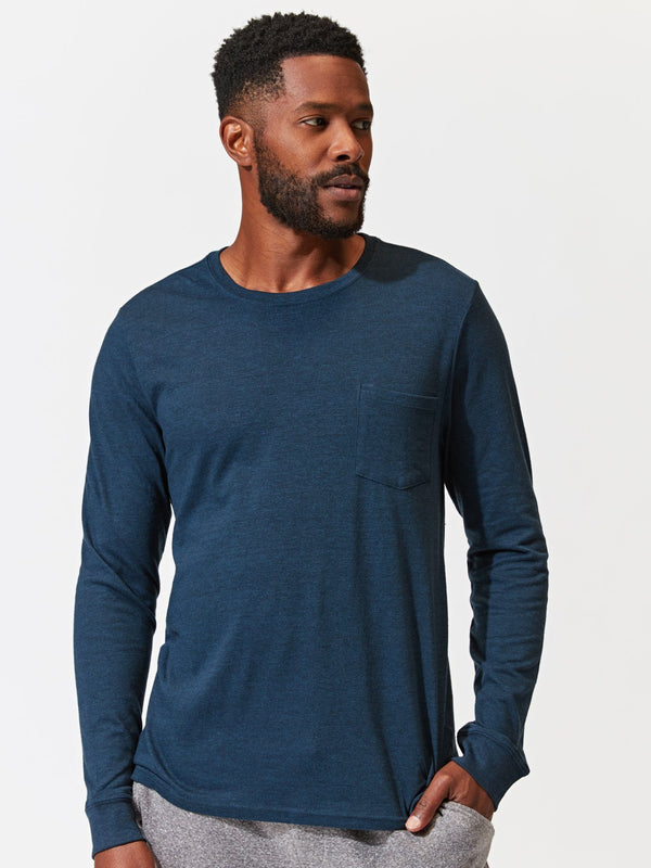 Long Sleeve Triblend Pocket Crew Tee Mens Tops Tshirt Threads 4 Thought