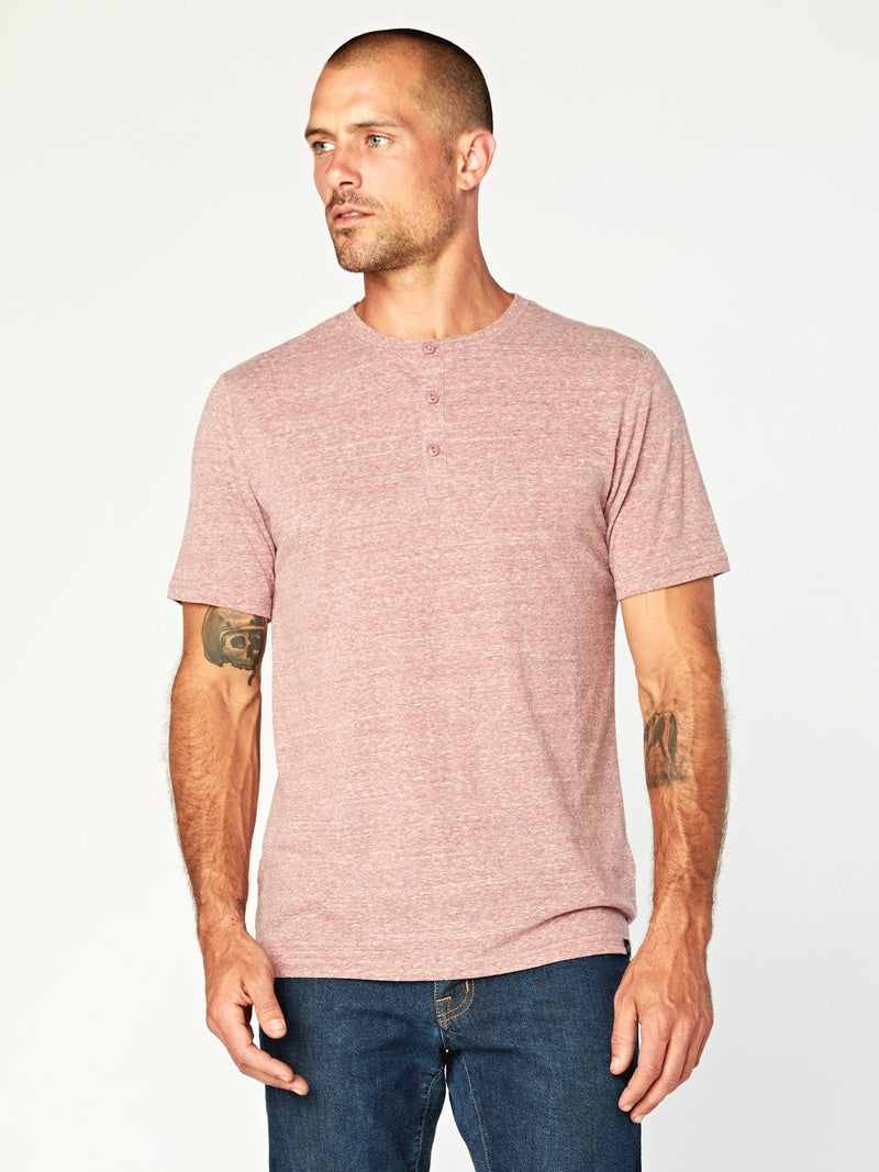 Baseline Triblend Henley Mens Tops Threads 4 Thought S Brick Red