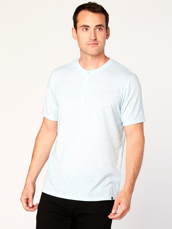 Baseline Triblend Henley Mens Tops Threads 4 Thought S Sterling Blue