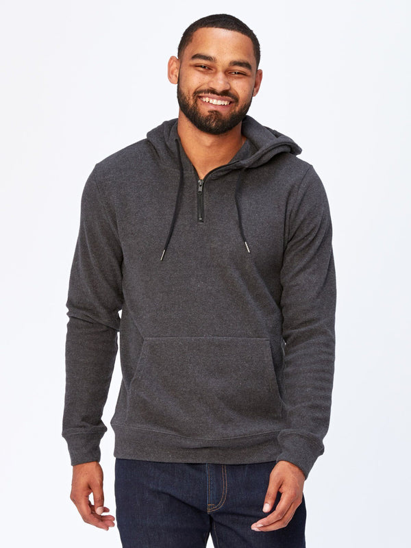 Brenton Zip Hoodie Mens Outerwear Sweatshirt Threads 4 Thought S Heather Black