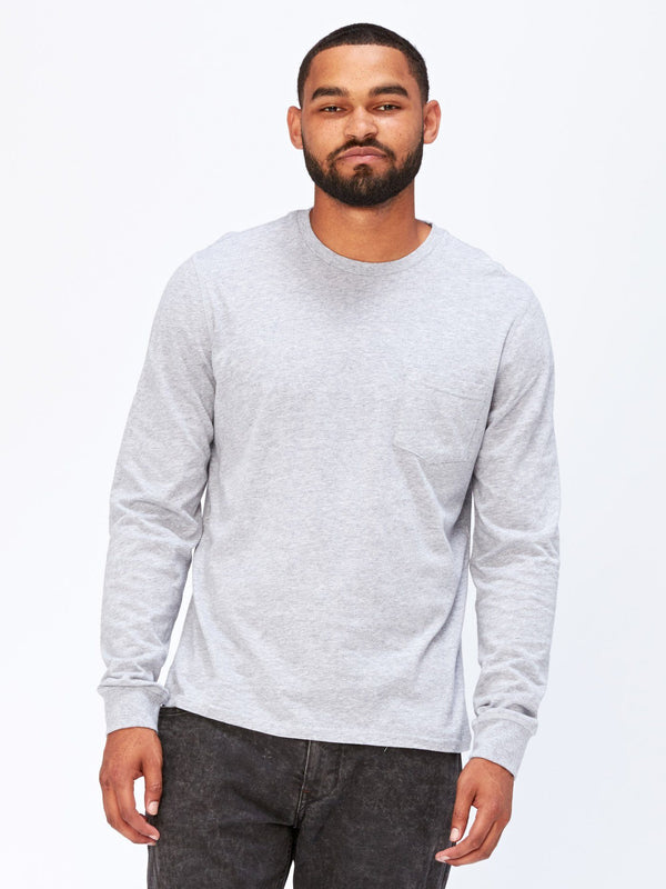 Standard Long Sleeve Pocket Tee Mens Tops Threads 4 Thought S Heather Grey