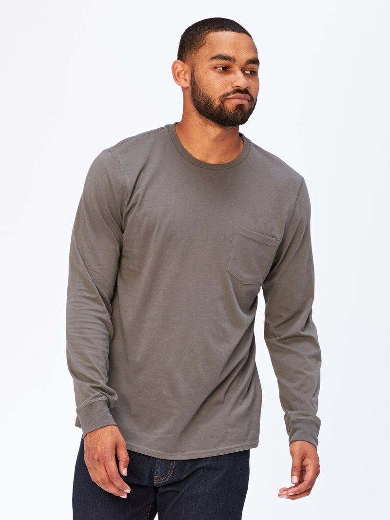 Standard Long Sleeve Pocket Tee Mens Tops Threads 4 Thought S Quiet Shade
