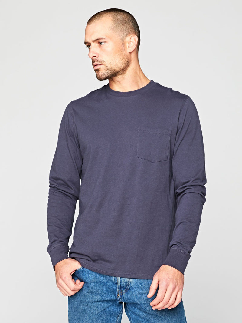 Standard Long Sleeve Pocket Tee Mens Tops Threads 4 Thought S Raw Denim