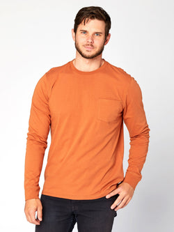 Standard Long Sleeve Pocket Tee Mens Tops Threads 4 Thought S Umber