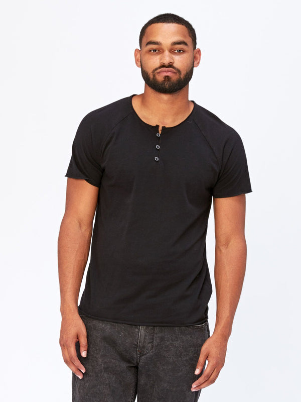 Standard Short Sleeve Henley Mens Tops Threads 4 Thought S Black