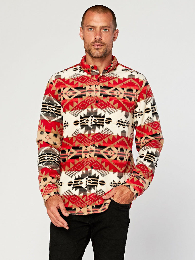 Printed Fleece Shirt Mens Outerwear Jacket Threads 4 Thought S Arizona Navajo