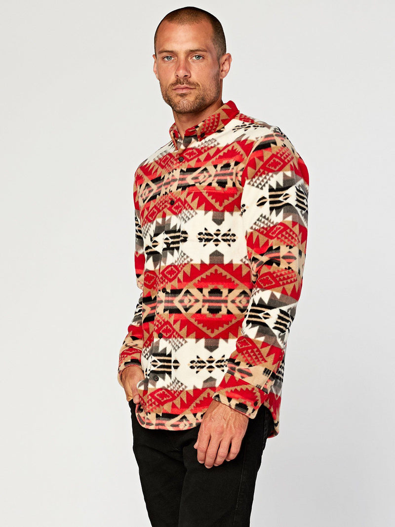 Printed Fleece Shirt Mens Outerwear Jacket Threads 4 Thought