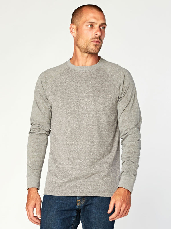 Triblend Colorblock Long Sleeve Crew Mens Tops Threads 4 Thought S Heather Grey/Heather Artichoke