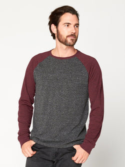 Triblend Colorblock Long Sleeve Crew Mens Tops Threads 4 Thought S Heather Black/Maroon Rust