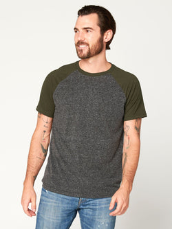 Triblend Colorblock Short Sleeve Crew Tee Mens Tops Threads 4 Thought S Heather Black / Rosin
