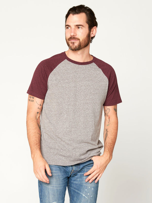 Triblend Colorblock Short Sleeve Crew Tee Mens Tops Threads 4 Thought S HEATHER / MAROON RUST