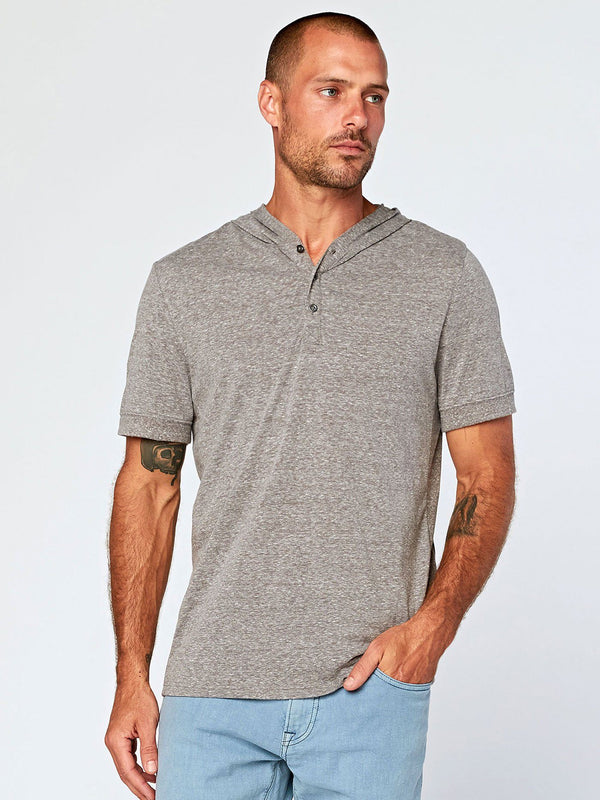 Short Sleeve Hooded Triblend Henley Mens Tops Shirt Threads 4 Thought S Heather Grey
