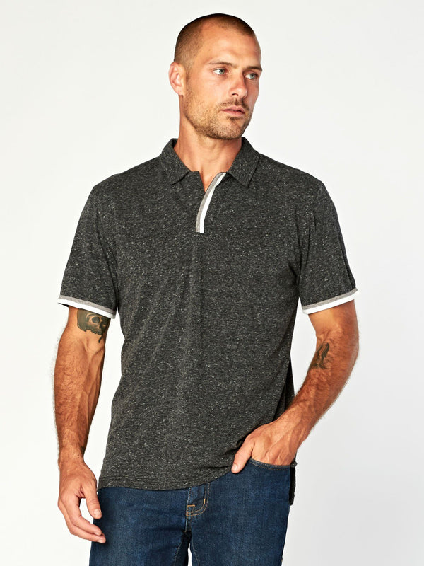 Earl Triblend Polo Mens Tops Shirt Threads 4 Thought S Heather Black
