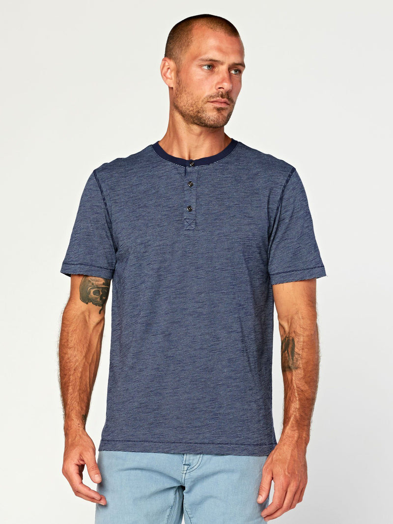 Geoff Slub Henley Mens Tops Threads 4 Thought S Raw Denim/Natural
