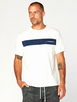 Laramie Bold Stripe Pocket Tee Mens Tops Threads 4 Thought S White