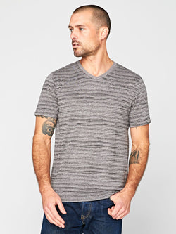 Dirt Road Stripe V-Neck Mens Tops Threads 4 Thought S Heather Grey