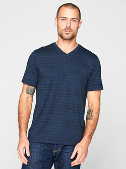 Dirt Road Stripe V-Neck Mens Tops Threads 4 Thought S Midnight