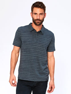 James Dirt Road Stripe Polo Mens Tops Shirt Threads 4 Thought S Gunmetal