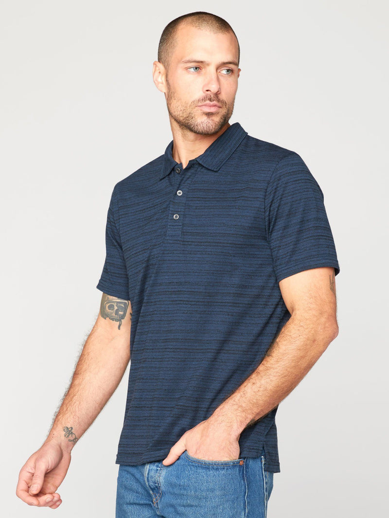 James Dirt Road Stripe Polo Mens Tops Shirt Threads 4 Thought
