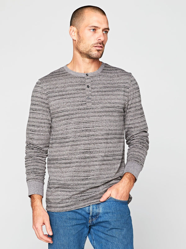 Triblend Dirt Road Stripe Henley Mens Tops Threads 4 Thought S Heather Grey