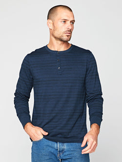 Triblend Dirt Road Stripe Henley Mens Tops Threads 4 Thought S Midnight