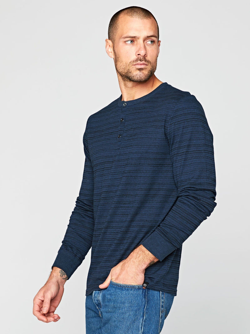 Triblend Dirt Road Stripe Henley Mens Tops Threads 4 Thought