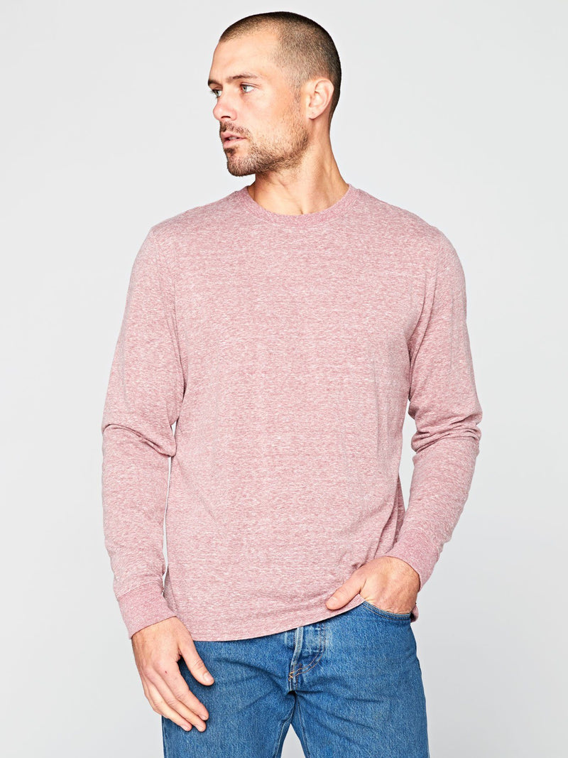 Long Sleeve Triblend Crew Mens Tops Threads 4 Thought S Brick Red