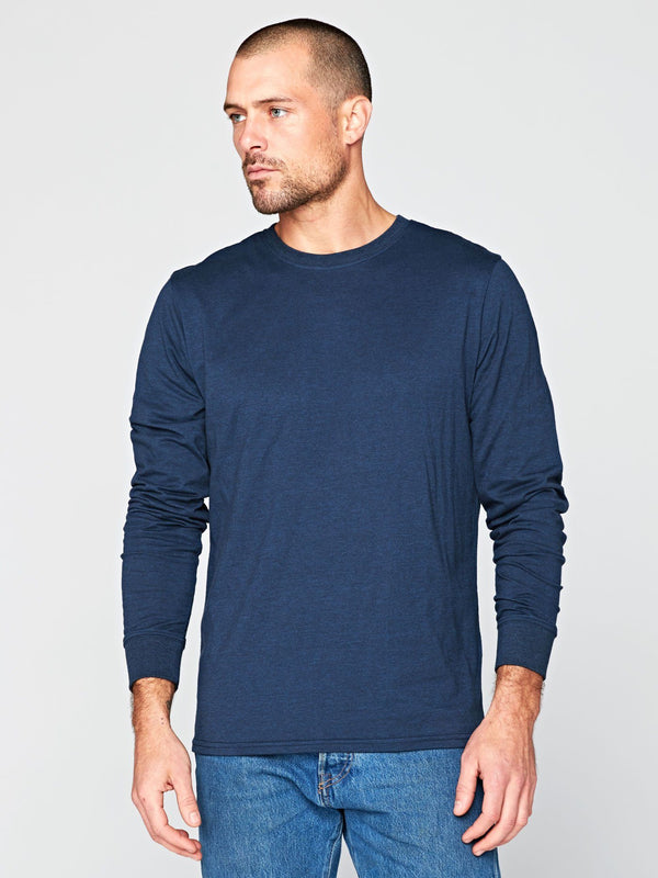 Long Sleeve Triblend Crew Mens Tops Threads 4 Thought S Midnight