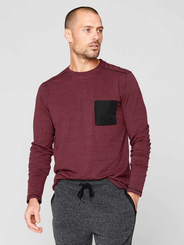 Victor Long Sleeve Pocket Tee Mens Tops Threads 4 Thought S Maroon Rust