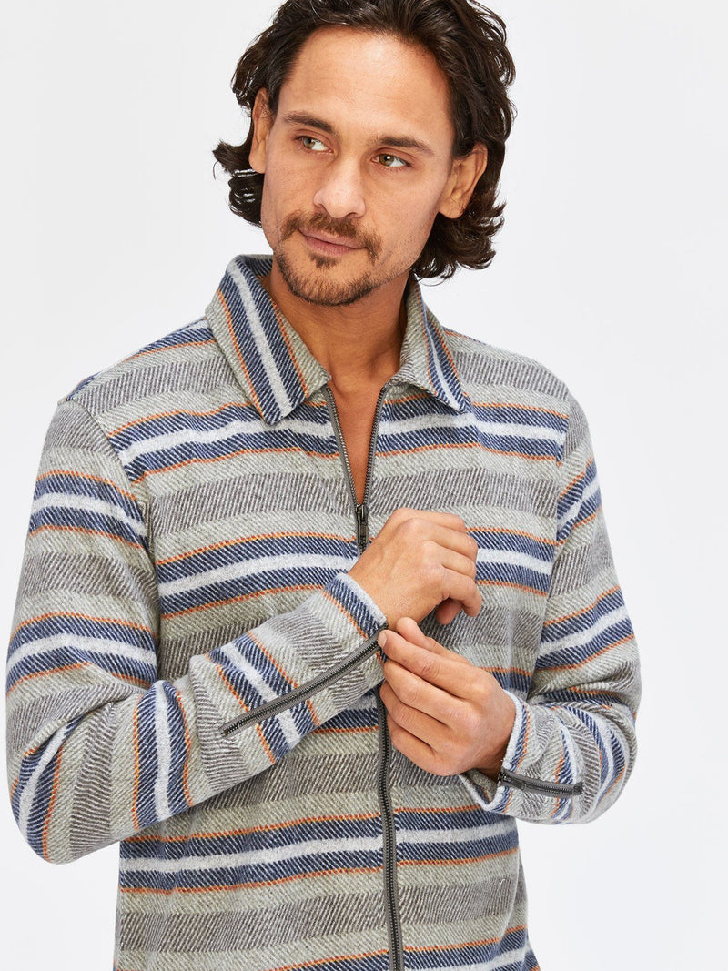 Joel Portland Stripe Zip Collared Shirt Mens Outerwear Sweatshirt Threads 4 Thought