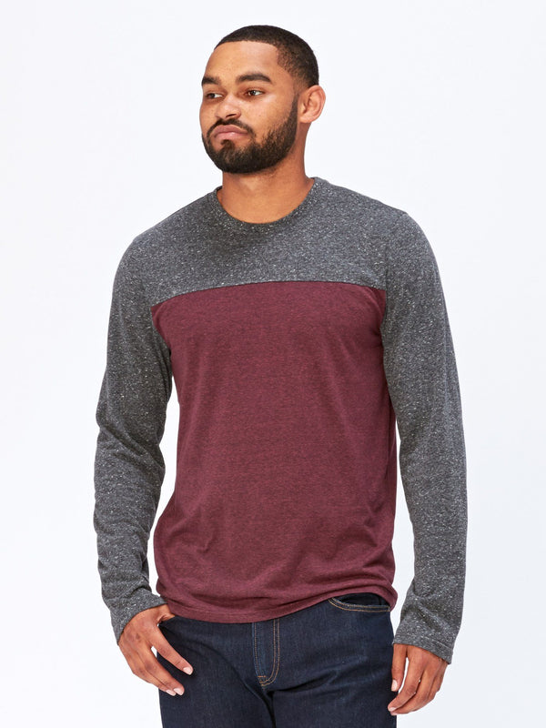 Long Sleeve Contrast Yoke Tee Mens Tops Threads 4 Thought S Maroon Rust / Heather Black