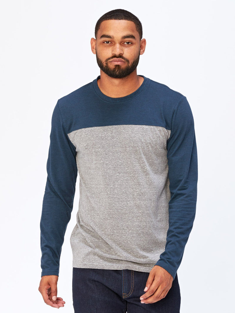 Long Sleeve Contrast Yoke Tee Mens Tops Threads 4 Thought S Heather Grey / Midnight