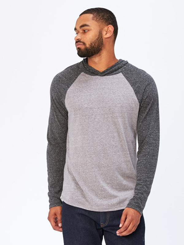 Contrast Raglan T-Shirt Hoodie Mens Tops Threads 4 Thought S Heather Grey / Heather Black